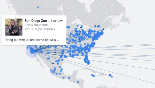 The live video map for discovering people broadcasting live throughout the world.