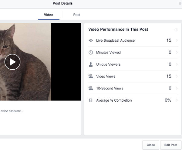 Facebook Insights for the live video broadcast.